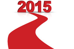 Red carpet to 2015. Forward to 2015 new year concept, red carpet toward the number of 2015 Stock Photo