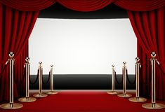 Red carpet to a movie premiere event Stock Photography