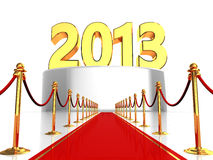Red carpet to new year. 3d illlustration of red carpet to 2013 year sign Royalty Free Stock Images