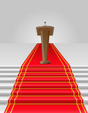 Red carpet to tribune vector illustration Royalty Free Stock Photos
