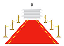 Red carpet to tribune on white background Stock Images