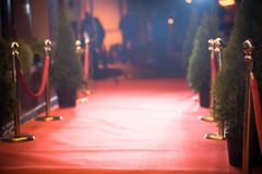 Red carpet -  is traditionally used to mark the route taken by heads of state on ceremonial and formal occasions.  Royalty Free Stock Photography