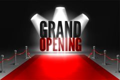 Grand opening event banner. Red carpet between two barriers. Red ribbon cut ceremony. Grand opening event in spotlights stock illustration