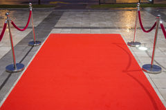 Red carpet. Between two rope barriers Stock Photos