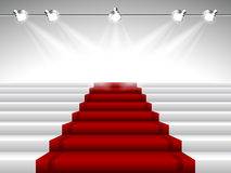 Red Carpet under Spotlights Royalty Free Stock Image
