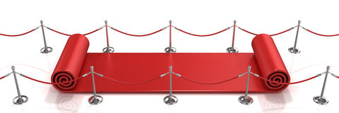 Red carpet unrolling concept Stock Image