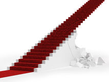 Red carpet up the destroyed stair Stock Photography