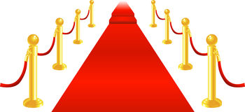 Red Carpet and Velvet Rope. A red carpet and velvet rope with golden brass posts illustration. Representing luxury and v.i.p treatment Stock Photo