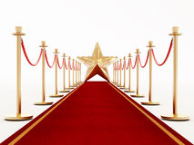 Red carpet and velvet ropes with a golden star Stock Photos