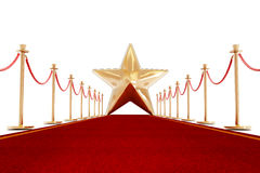 Red carpet and velvet ropes with a golden star Royalty Free Stock Images