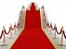 Red carpet and velvet ropes leading to the staircase Stock Photography