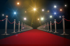 Red carpet for VIP. Flash lights in background. 3D rendered illustration.  Royalty Free Stock Photos