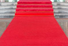 Red carpet. On walkway to upstair Royalty Free Stock Photo