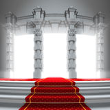 Red carpet way to the light portal. Stock Photo