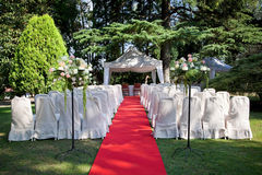 Red carpet before a wedding stock images
