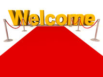 Red carpet welcome. A red carpet welcome, with the word welcome at the end of the carpet stock illustration