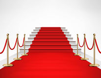 Red Carpet White Stairs Realistic Illustration. Red carpet event with white marble stairs and gold queue rope barriers posts stands realistic vector illustration Stock Images