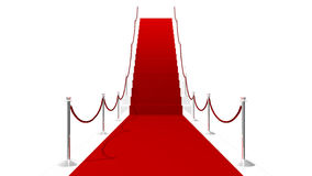 Red Carpet On White Stairs White Background Stock Images