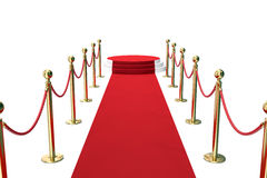 Free Red Carpet With Golden Barrier And Ropes. Stairway To Speak. 3d Illustration Stock Images - 77312294