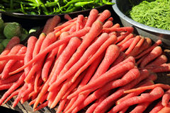 Red carrot on market in india Stock Images
