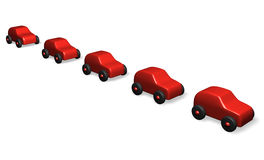 Red cars. Five red cars in line Stock Photography