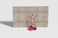 Red cart against of brick wall. 3d rendering of a red cart against of brick wall.Illustration Royalty Free Stock Image