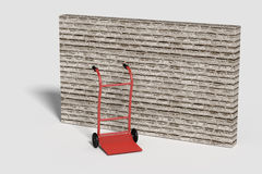 Red cart against of brick wall. 3d rendering of a red cart against of brick wall.Illustration Stock Photography