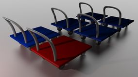 Red cart among blue ones Stock Photos
