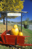 Red cart filled with pumpkins outside motel in autumn, Route 100, VT Royalty Free Stock Photography