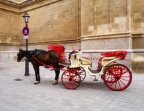 Red Cart with horse in Spain, Mallorca Royalty Free Stock Images