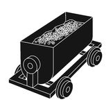 The red cart on wheels for lifts minerals from deep mines.Mine Industry single icon in black style vector symbol stock Royalty Free Stock Photos