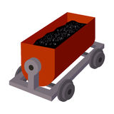 The red cart on wheels for lifts minerals from deep mines.Mine Industry single icon in cartoon style vector symbol stock Stock Photo
