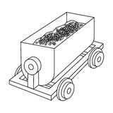 The red cart on wheels for lifts minerals from deep mines.Mine Industry single icon in outline style vector symbol stock Royalty Free Stock Images