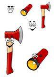 Red cartoon axe and torch flashlight Stock Photography