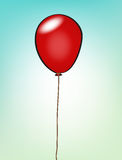 Balloon. Red cartoon balloon attached with string Royalty Free Stock Photo