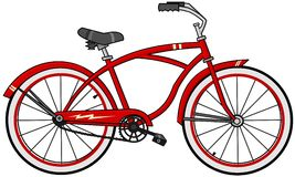 Red cartoon bicycle Stock Photos