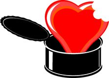 Red cartoon broken heart in black open tin Royalty Free Stock Image