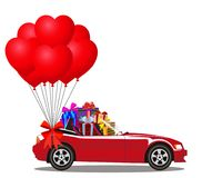 Red cartoon cabriolet car full of gift boxes and bunch of balloo. Red modern cartoon cabriolet car full of gift boxes and bunch of red helium heart shaped Royalty Free Stock Image