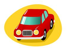 Red cartoon car Royalty Free Stock Image
