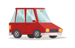 Red cartoon car design flat vector illustration Royalty Free Stock Photo