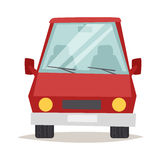 Red cartoon car front view design flat vector illustration Royalty Free Stock Image