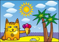 A red cartoon cat with ice cream on the shore of the tropical sea under a palm tree. Vector drawing. A red cartoon cat with ice cream on the shore of the vector illustration