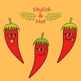 Red cartoon chile peppers in sunglasses and phrase `Stylish and hot` vector illustration