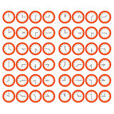 Red Cartoon Clocks Showing Every 15 Minutes Past t Royalty Free Stock Image