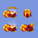 Red cartoon colorful isometric gift boxes set with bonus. Royalty Free Stock Photos