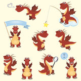 Red cartoon dragon set Stock Photography