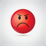 Red Cartoon Face Angry People Emotion Icon. Flat Vector Illustration vector illustration
