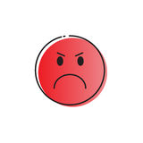 Red Cartoon Face Angry People Emotion Icon. Yellow Cartoon Face Angry People Emotion Icon Vector Illustration vector illustration