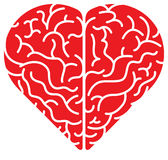 Red cartoon heart shaped brain Royalty Free Stock Images