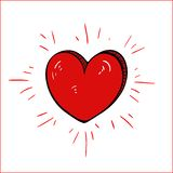 Red cartoon heart-vector drawing stock images